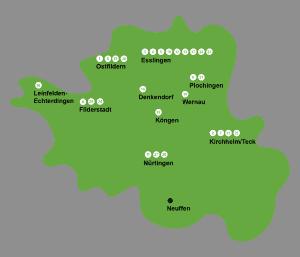Standortkarte Landkreis Esslingen